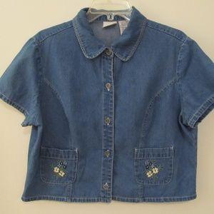 Vtg Blue Floral Embroidered Denim Crop Top Shirt